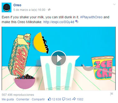 imagen vídeo de Facebook Oreo